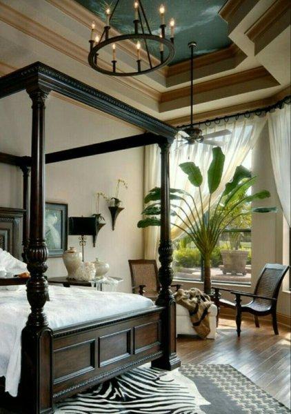 styl kolonialny - łóżko